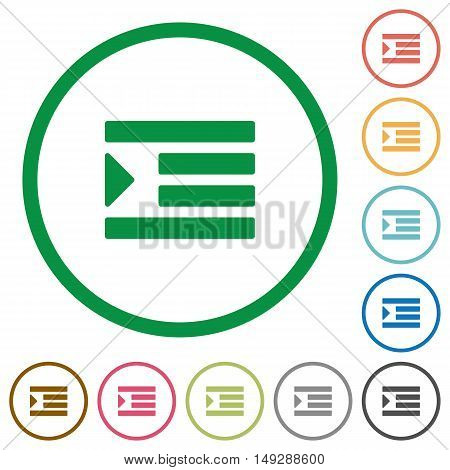 Set of Increase text indent color round outlined flat icons on white background