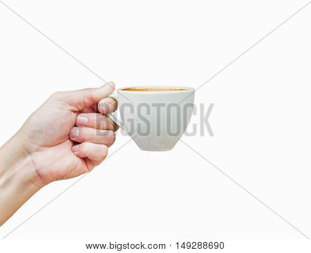 Hot coffee cup in hand isolated on white background.