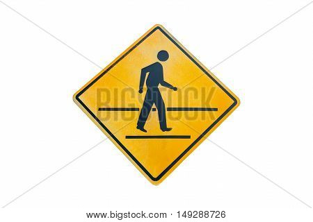 Warning traffic Pedestrian traffic road sign isolated on white background.