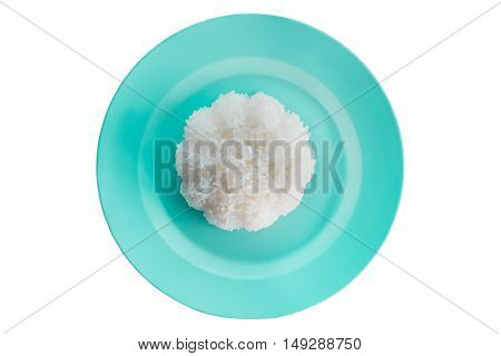 Rice in plate isolated on white background.