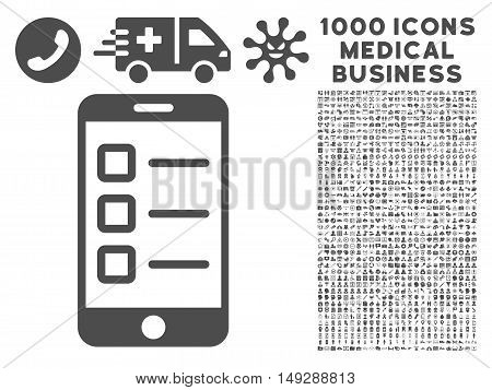 Gray Mobile Test icon with 1000 medical business vector pictographs. Collection style is flat symbols, gray color, white background.