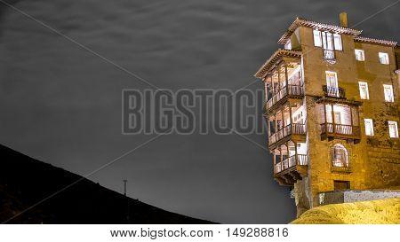 Night view of hanging houses in Cuenca, Spain