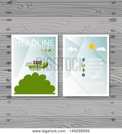 Vector Brochure Flyer design Layout template. Ecology background with elements for magazine, cover, poster design.