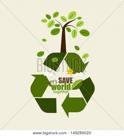 ECO FRIENDLY. Ecology concept with Recycle symbol and tree. Vector illustration.