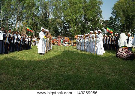 Ceremony of Meskel - 26 september 2012, celebration of  Holy Cross finding festival, Bahir Dar, Ethiopia