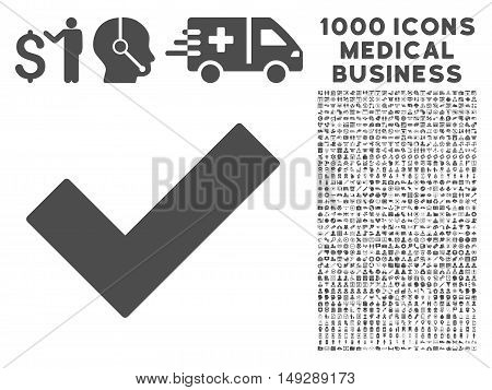 Gray Ok Tick icon with 1000 medical business vector design elements. Set style is flat symbols, gray color, white background.