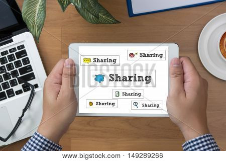 Sharing (sharing Share Social Networking Connection Communication )