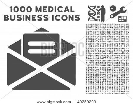 Gray Open Mail icon with 1000 medical business vector pictograms. Collection style is flat symbols, gray color, white background.