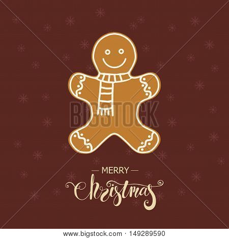 Christmas vector illustration with gingerbread man. Design element for poster, greeting card, postcard.