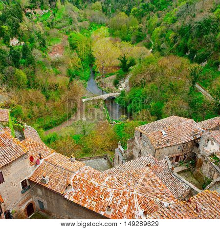 Aerial View of the Medieval Italian City