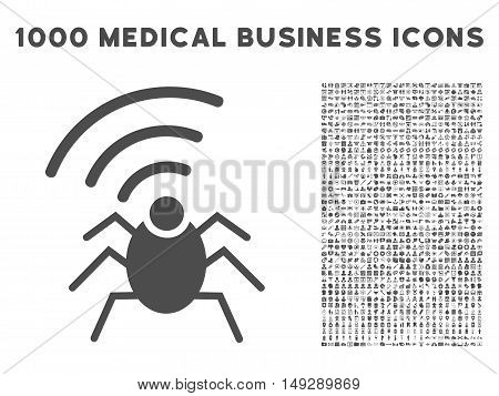 Gray Radio Spy Bug icon with 1000 medical business vector design elements. Collection style is flat symbols, gray color, white background.