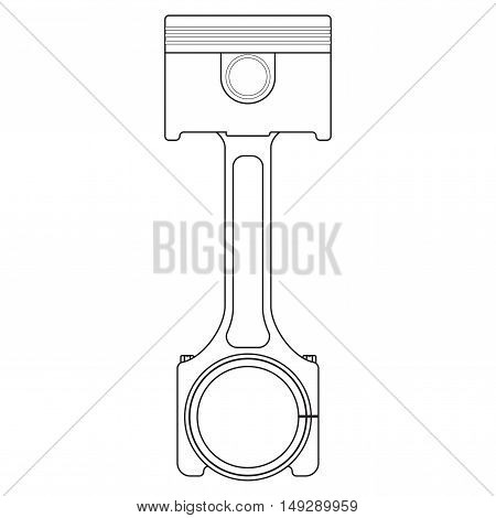 Piston. Outline icon. Vector ilustration isolated on white background