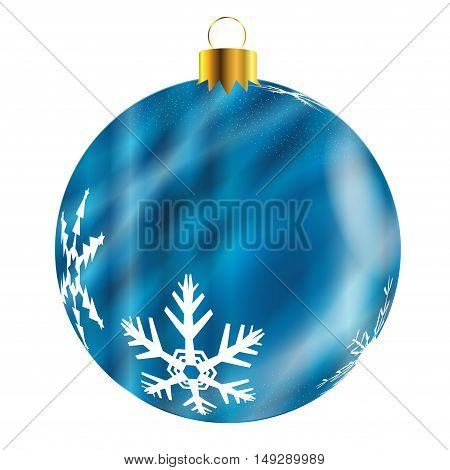 A glossy blue Christmas decoration with snowflake patterns isolatedon a white background.