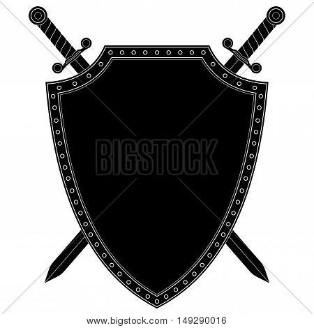 Shield with crossed swords. Vector ilustration isolated on white background