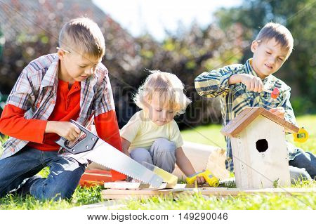 Children brothers making together nesting box outdoors