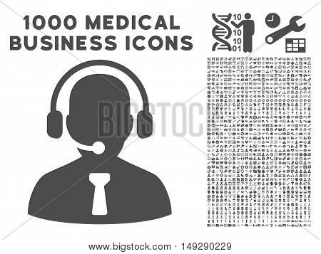 Gray Reception Operator icon with 1000 medical business vector pictographs. Set style is flat symbols, gray color, white background.
