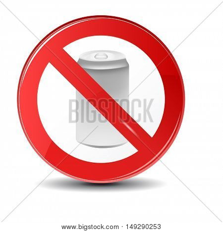 Soda can no trashing vector icon. Prohibition sign icon