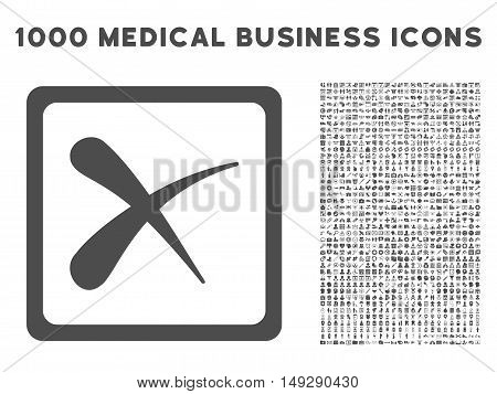 Gray Reject icon with 1000 medical business vector pictograms. Set style is flat symbols, gray color, white background.