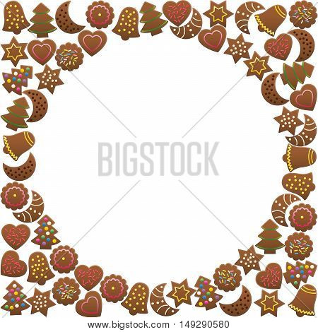 Gingerbread cookies forming a round frame. Isolated vector illustration on white background.