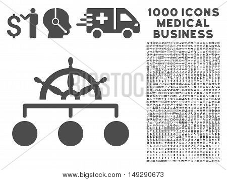 Gray Rule icon with 1000 medical business vector pictographs. Collection style is flat symbols, gray color, white background.