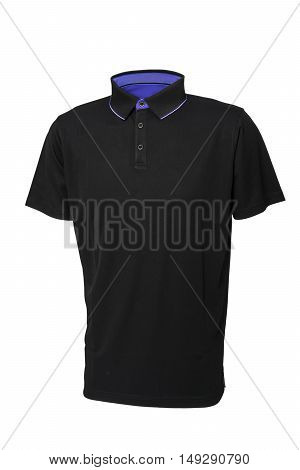 Golf black tee shirt for man or woman with inside blue collar isolated on white background