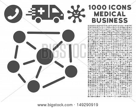 Gray Social Graph icon with 1000 medical business vector pictographs. Collection style is flat symbols, gray color, white background.