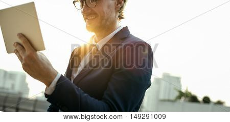 Businessman Working Connecting Tablet Concept
