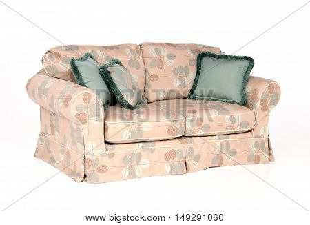 Indoor sofa for inside pillows in cushions on white background