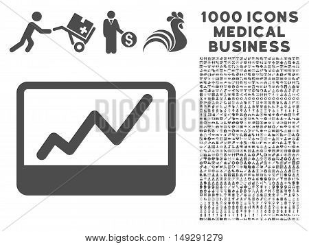 Gray Stock Market icon with 1000 medical business vector pictograms. Set style is flat symbols, gray color, white background.