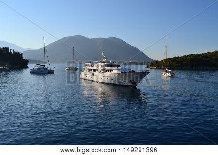 A wonderful yatch in Greece in a spectacular landscape