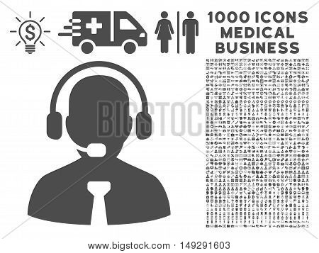 Gray Support Chat icon with 1000 medical business vector pictograms. Collection style is flat symbols, gray color, white background.