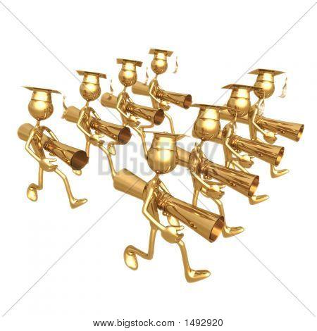 Golden Grad Group Carrying Diploma'S Graduation Concept
