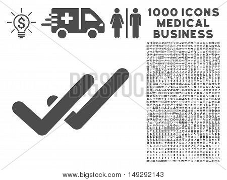 Gray Validation icon with 1000 medical business vector design elements. Set style is flat symbols, gray color, white background.