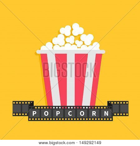 Popcorn. Film strip ribbon line with text. Red white box container. Cinema movie night icon in flat design style. Yellow background. Vector illustration