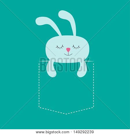 Rabbit hare sleeping in the pocket. Cute cartoon character. Dash line. Forest animal collection. T-shirt design. Blue background. Isolated. Flat Vector illustration