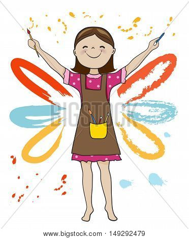 Girl artist holding pencil and paintbrush on paint splashes background cartoon vector illustration