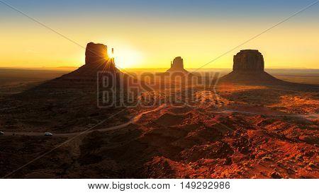 Beautiful Sunrise at Monument Valley, Utah, USA