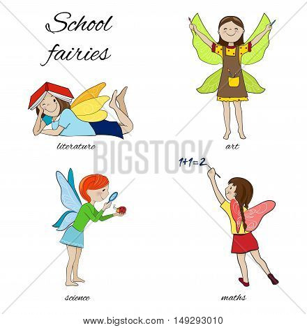 School fairies cartoon vector illustration, literature, reading, maths and art, science or biology fairy girls