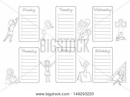 Kids school timetable, weekly planner, organizer for students cartoon vector coloring page