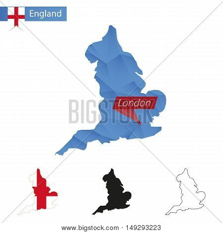 England Blue Low Poly Map With Capital London.