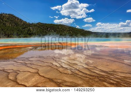 Yellowstone National Park. Grand Prismatic Spring, Wyoming, USA