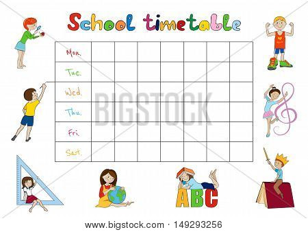 School timetable, weekly planner, organizer for students cartoon vector illustration