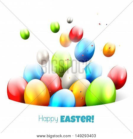 Easter background with colorful eggs flying out of the pocket