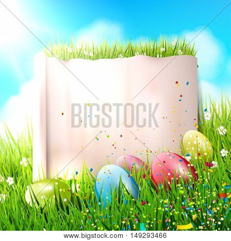 Colorful Easter background with eggs in grass and with empty paper