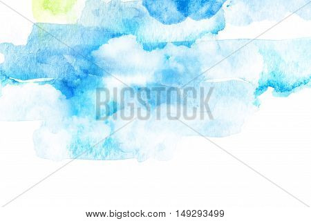 Watercolor illustration of sky with cloud. Artistic natural abstract background.