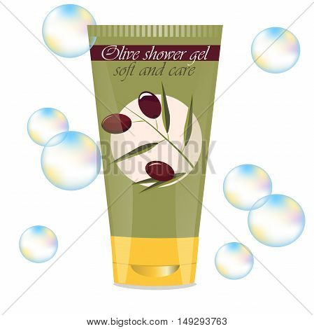 High quality original trendy vector face or hand olive cream