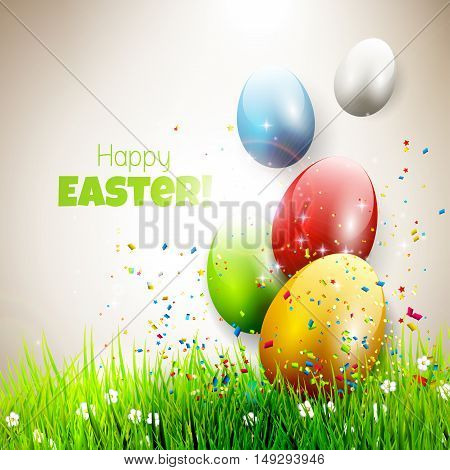 Modern Easter greeting card with colorful eggs flying out of grass