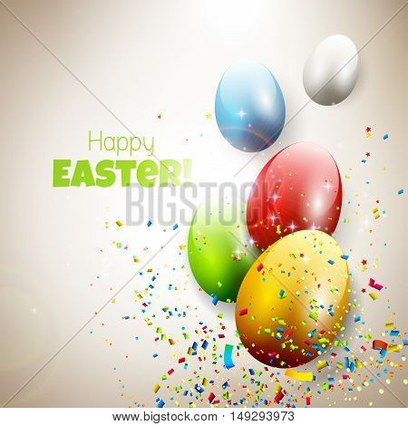 Modern Easter greeting card with colorful eggs