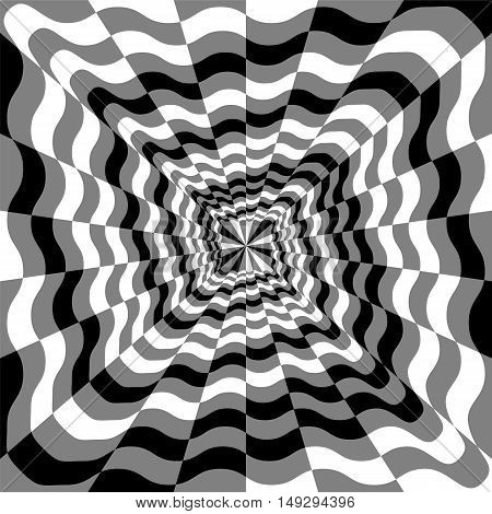 Vector Illustration.Monochrome Wavy Spirals Expanding from the Center. Optical Illusion of Perspective and Volume. Suitable for textile fabric packaging and web design.