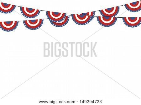 Patriotic symbolic decoration for holiday Usa. National flag colors United States of America.